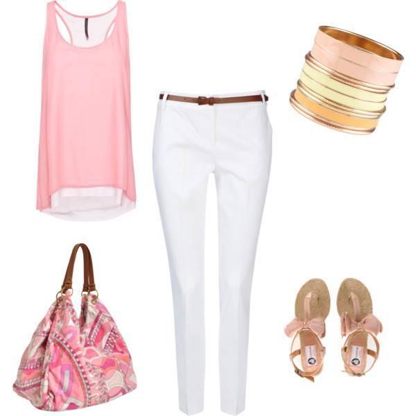 Белые штаны с блузой