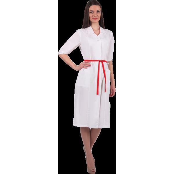 Белый халат с красной завязкой