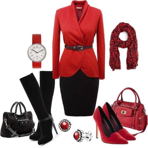 Деловой образ с красной одеждой