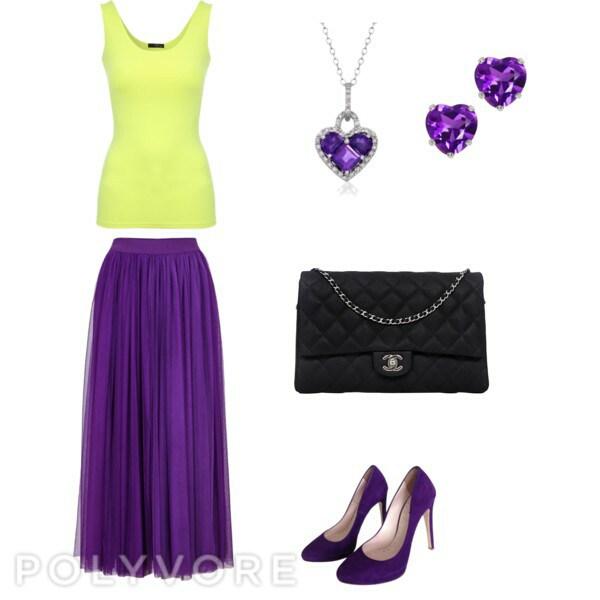 Длинная юбка фиолетового цвета
