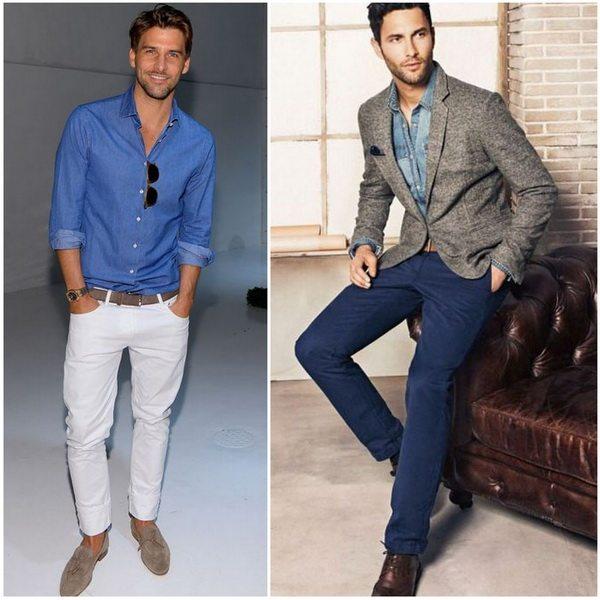 Джинсовую рубашку мужчины могут носить с джинсами
