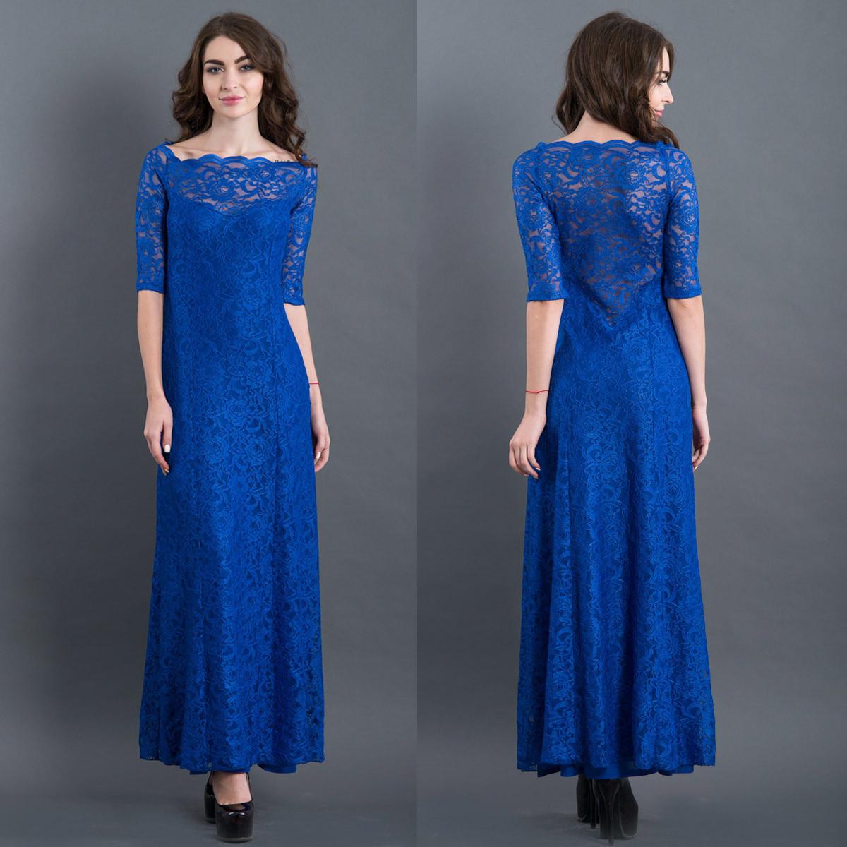 Гипюровое длинное вечернее платье цвет электрик