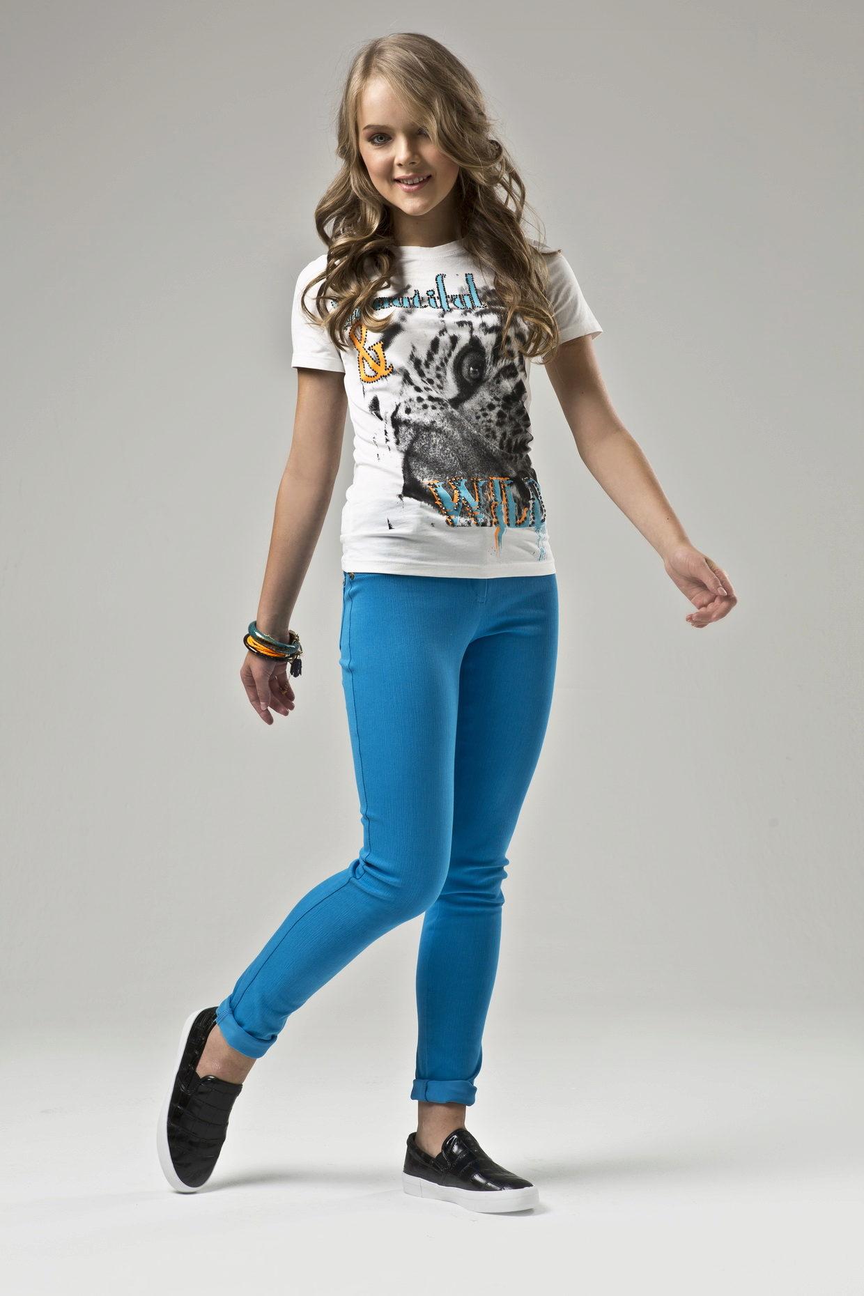 Голубые штаны для девочки