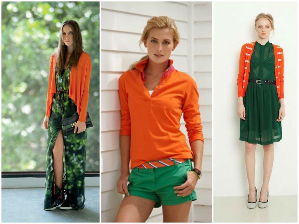 Комбинации зеленого и оранжевого