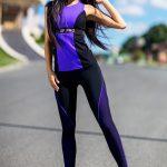 Костюм чёрного цвета с фиолетовыми вставками