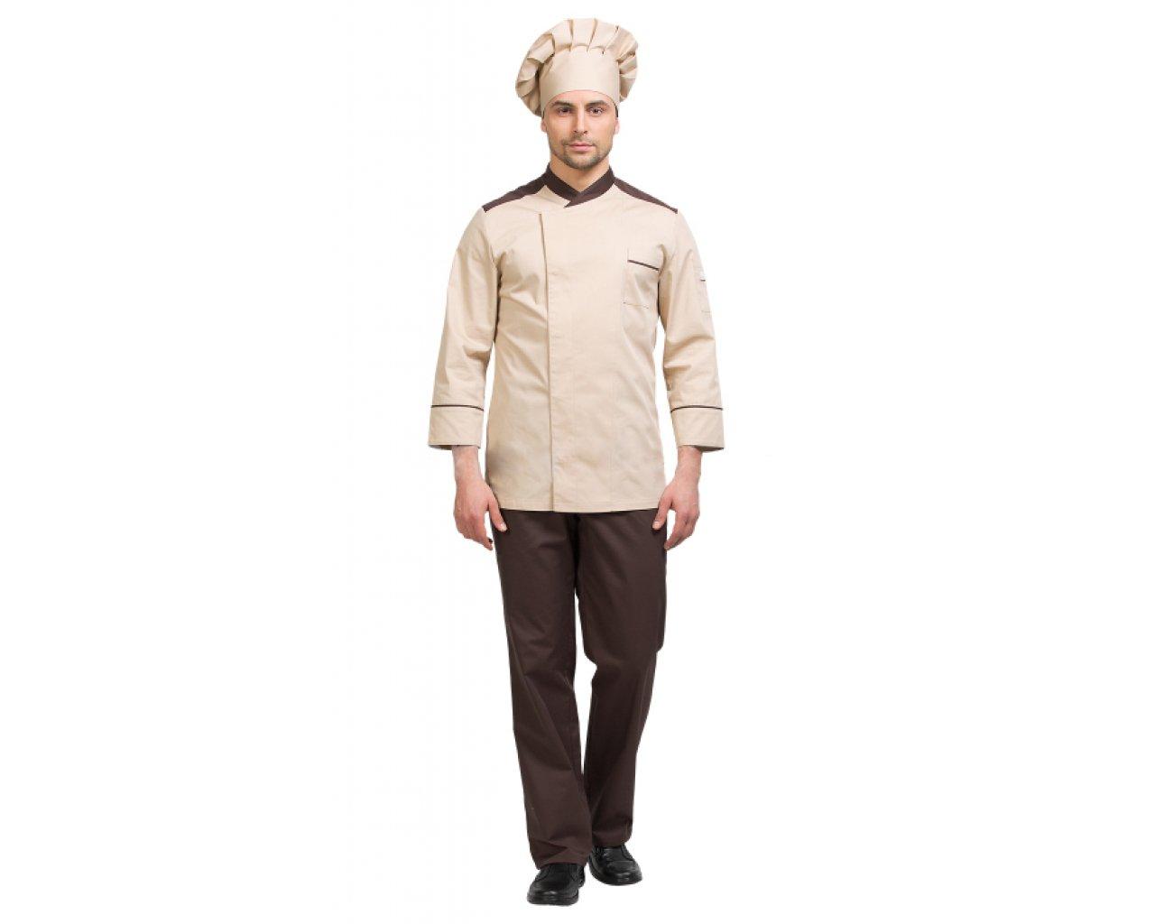 Костюм шеф-повара мужской, бежевый с коричневым