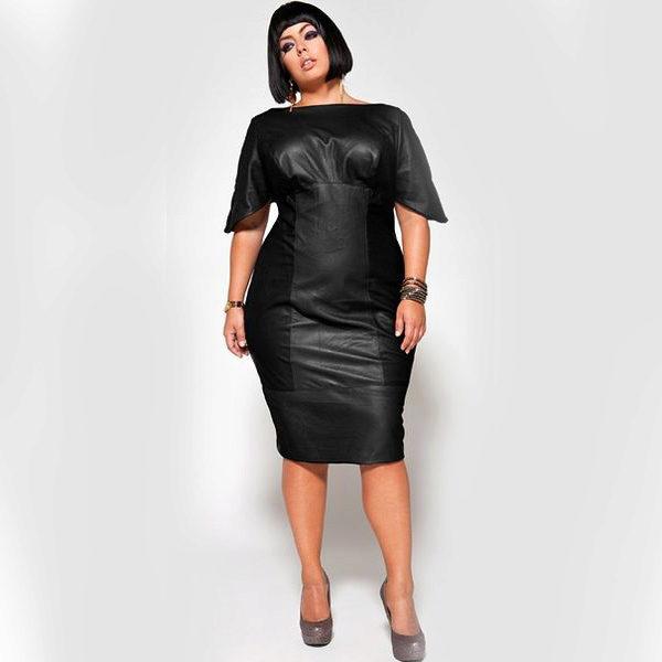 Кожаное платье для полных женщин