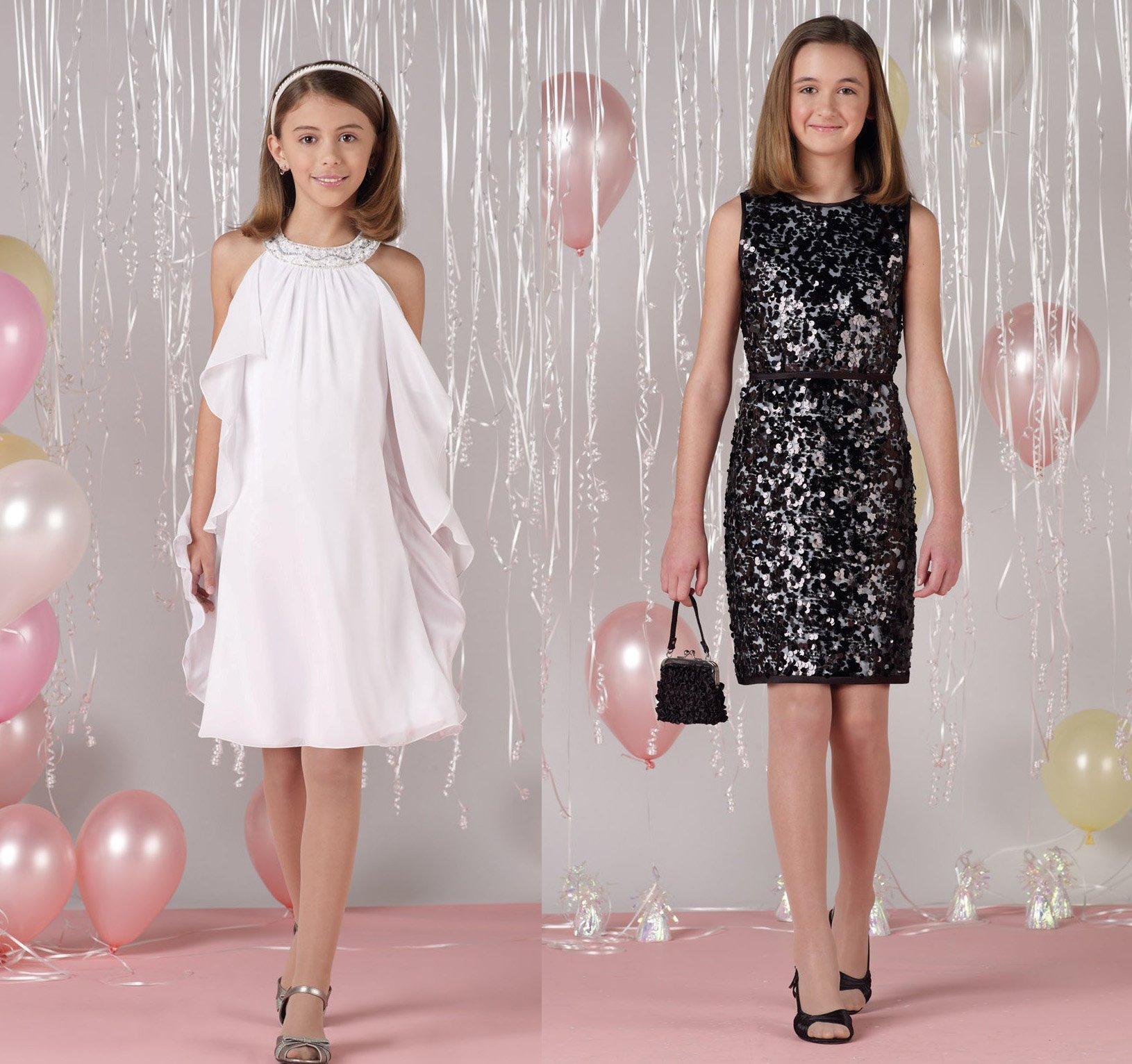 Красивые платья для девочек в черном и белом цвете