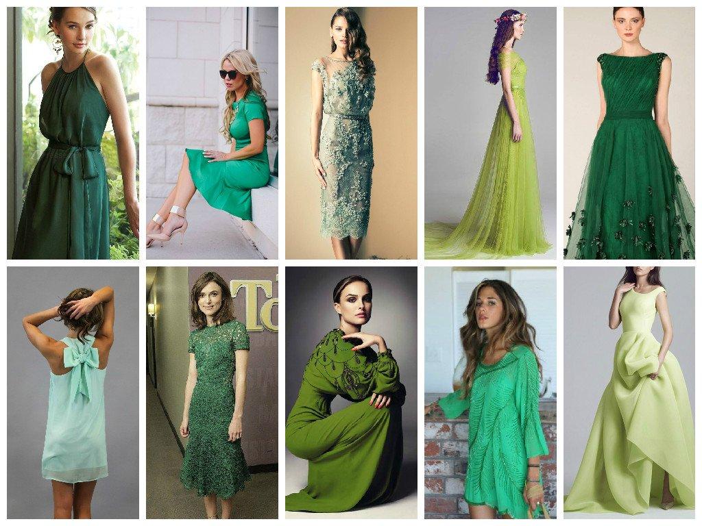 Красивые платья зелёного цвета