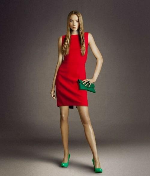 Красное изящное платье