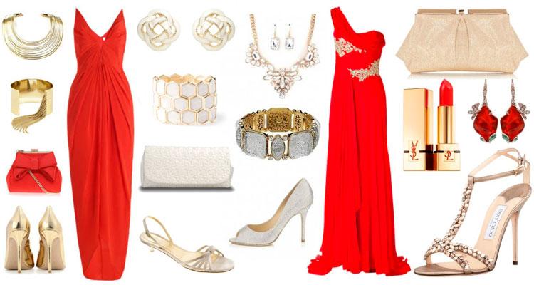 Красное платье в пол с аксессуарами для вечера