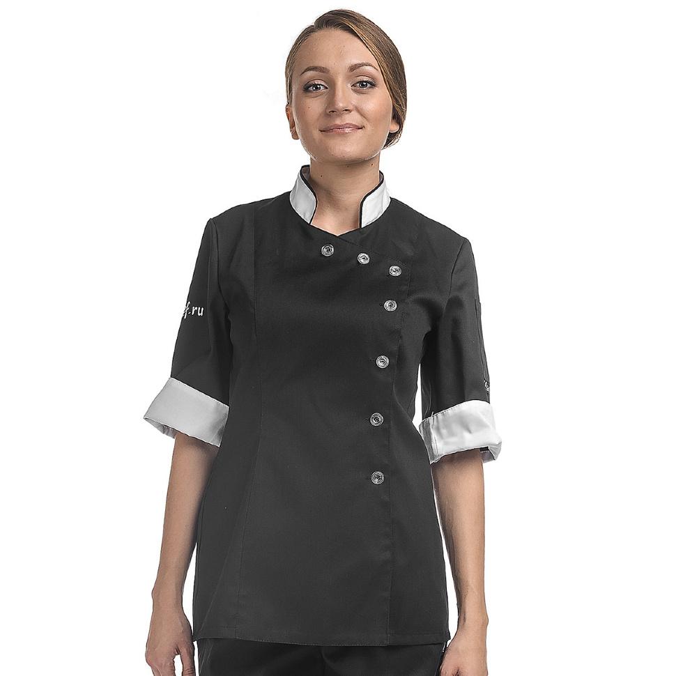 Куртка повара женская с контрастной отделкой