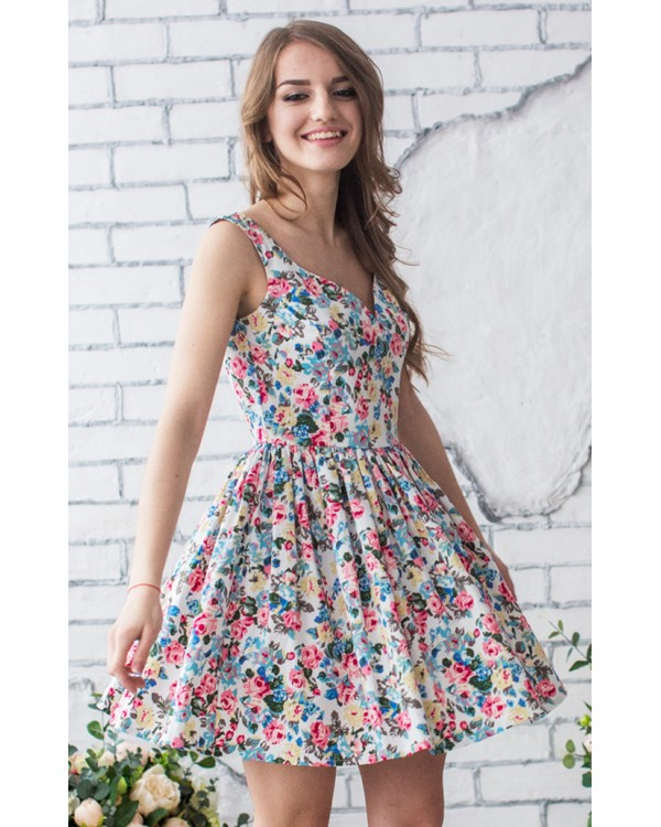 Летнее платье в цветочек