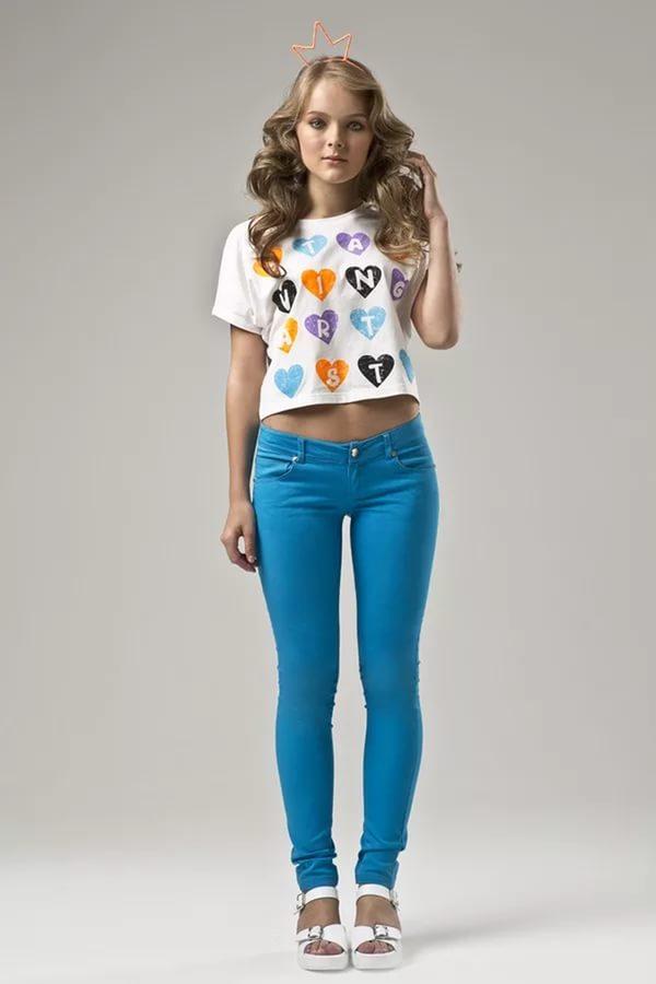 Модные штаны синего цвета