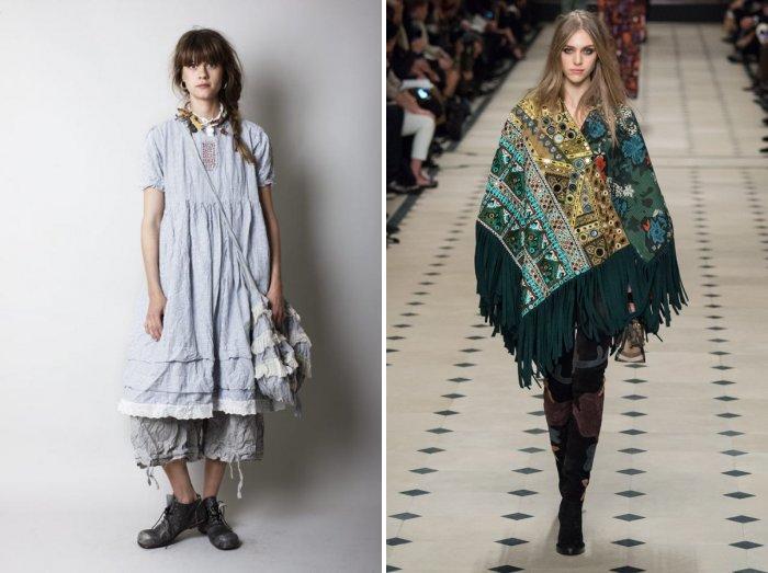 Одежда в стиле бохо в сочетании с большой сумкой