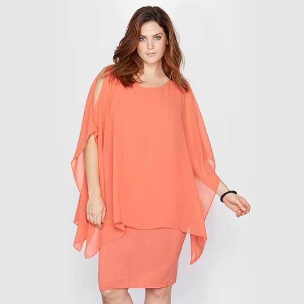 Персиковый оттенок платья для полных