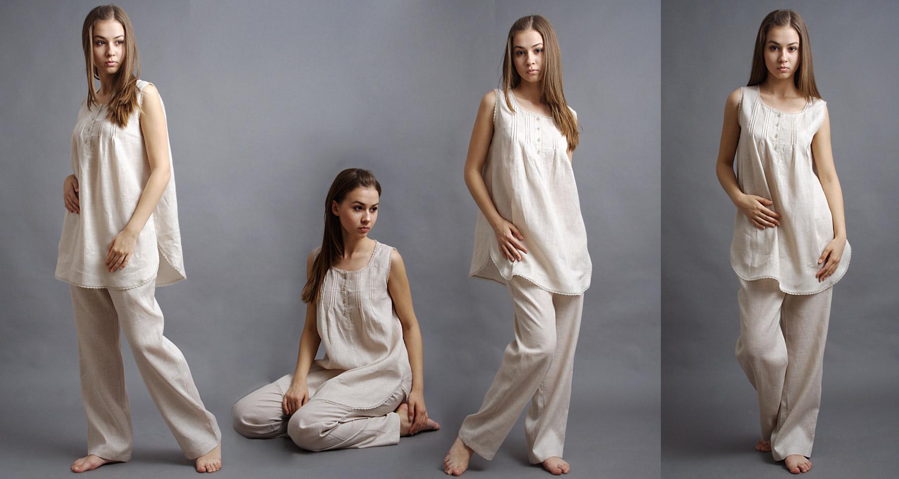Пижама из льна