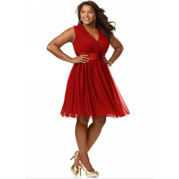 Платье красное с завышенной талией