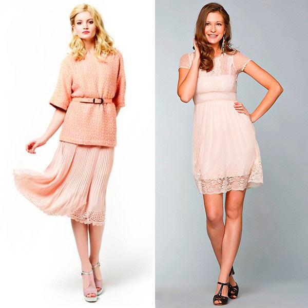 Платья персикового цвета