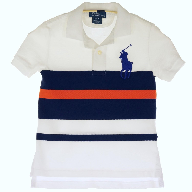 Поло белое в полоску с большим логотипом для мальчика