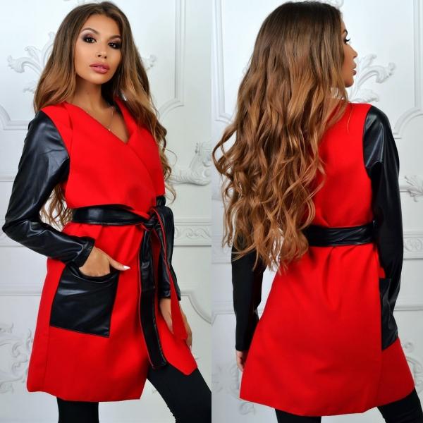 Роскошное женское кашемировое пальто красного цвета