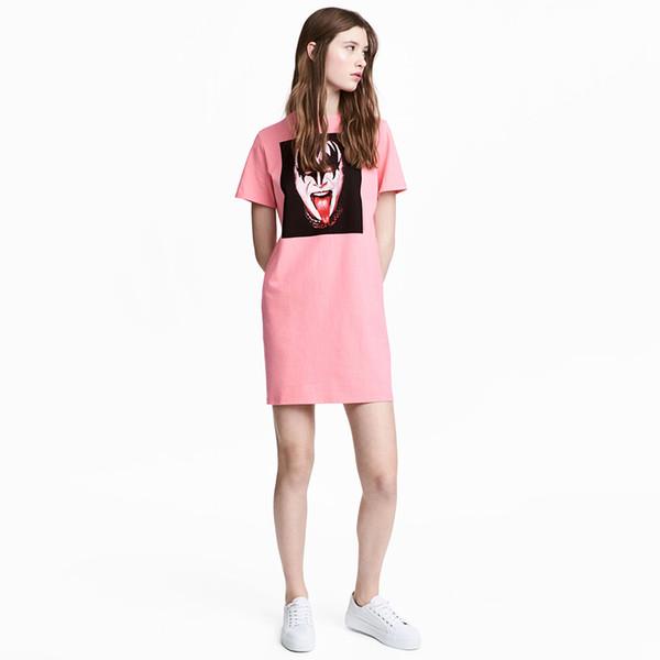 Розовое прямое женское платье