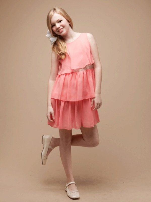 Розовое платье для девочки 12 лет