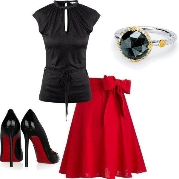 Сочетание красного и черного в одежде.