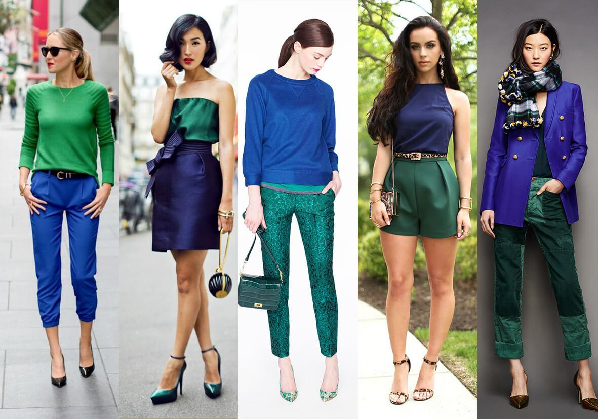 Сочетание синего и зеленого
