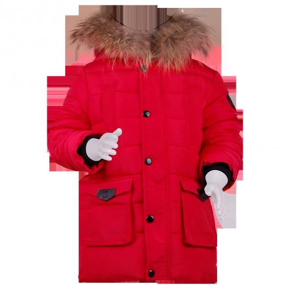 Стильный детский пуховик красного цвета