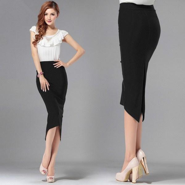 Строгая длинная черная юбка