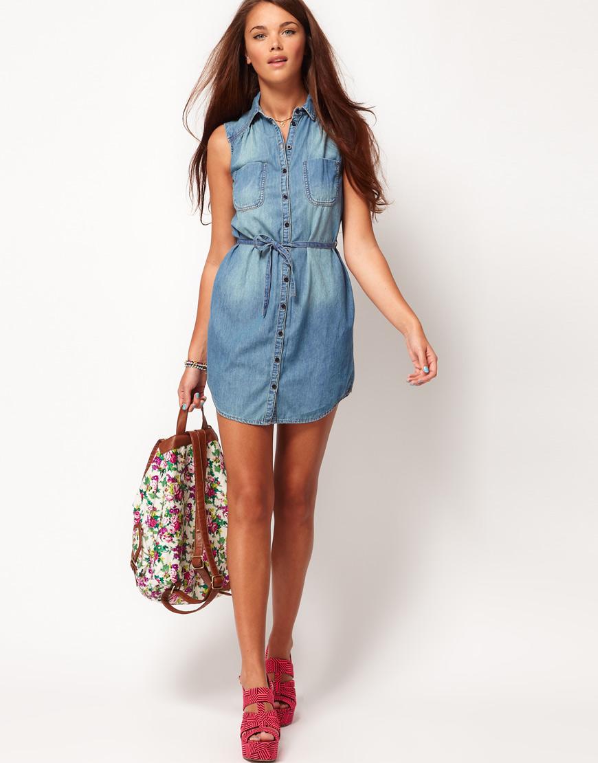 Варианты моделей джинсового платья
