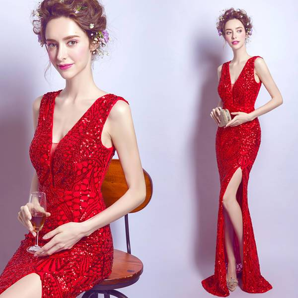 Вечерние сверкающие платья красного цвета усыпанное красными пайетками