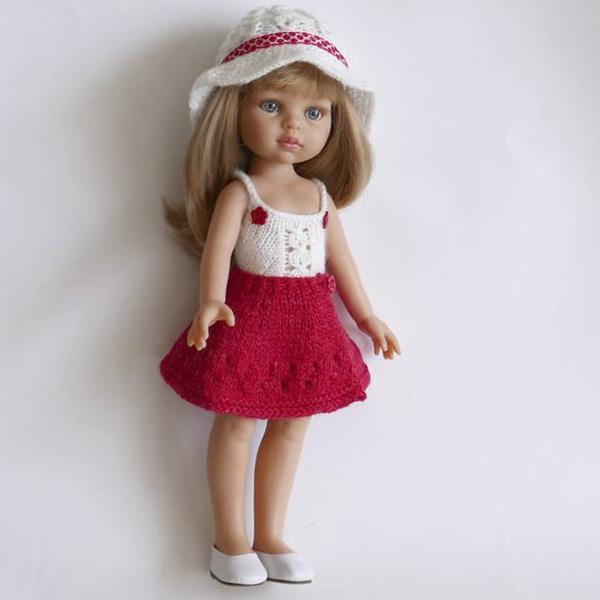 Вязаный летний комплект одежды для куклы