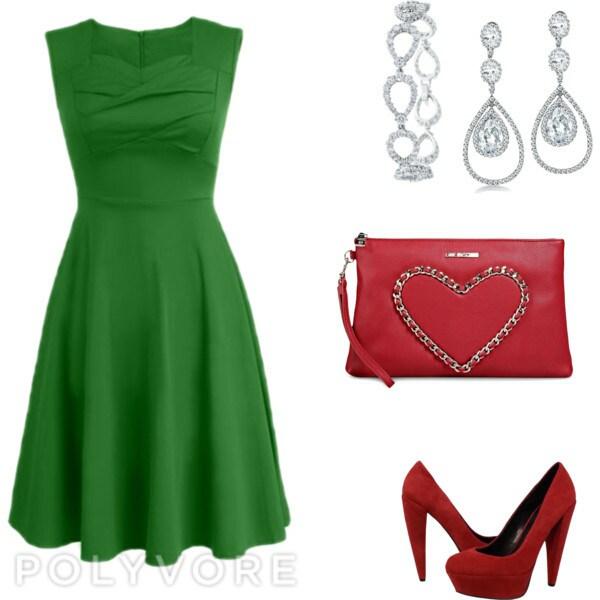 Зеленое платье с акссесуарами