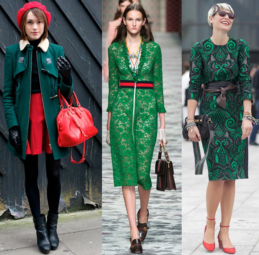 Зеленый и красный в одежде