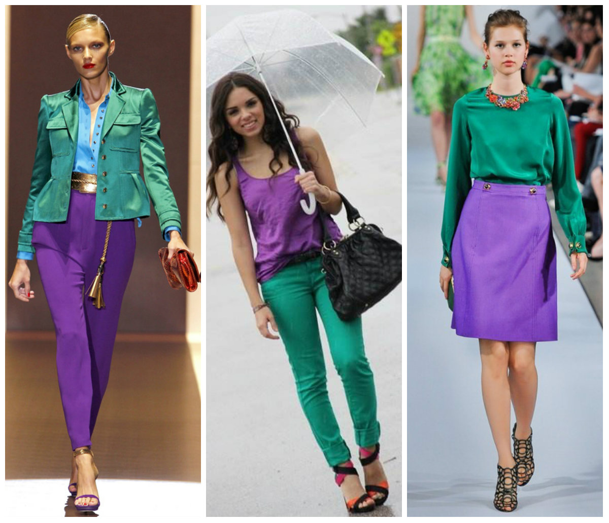 Зеленый с фиолетовым