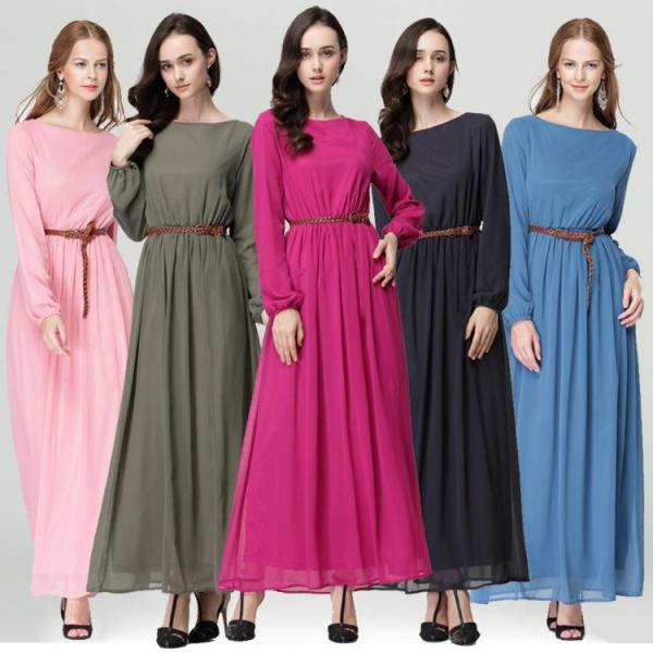 Летнее платье с длинными рукавами