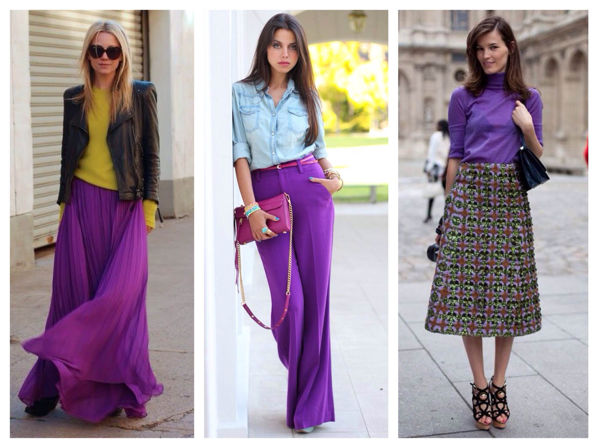 Ансамбли с фиолетовыми элементами одежды