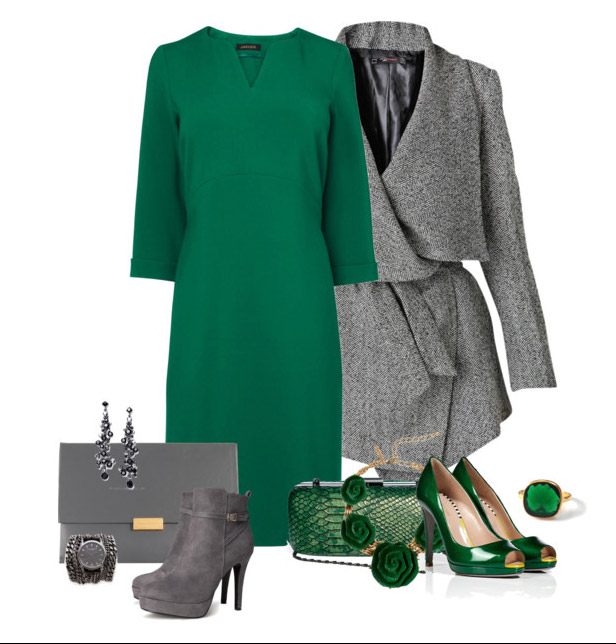 Чем дополнить образ с зеленым платьем