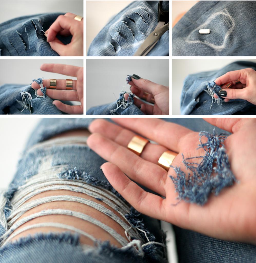 Делаем прорезы на джинсах