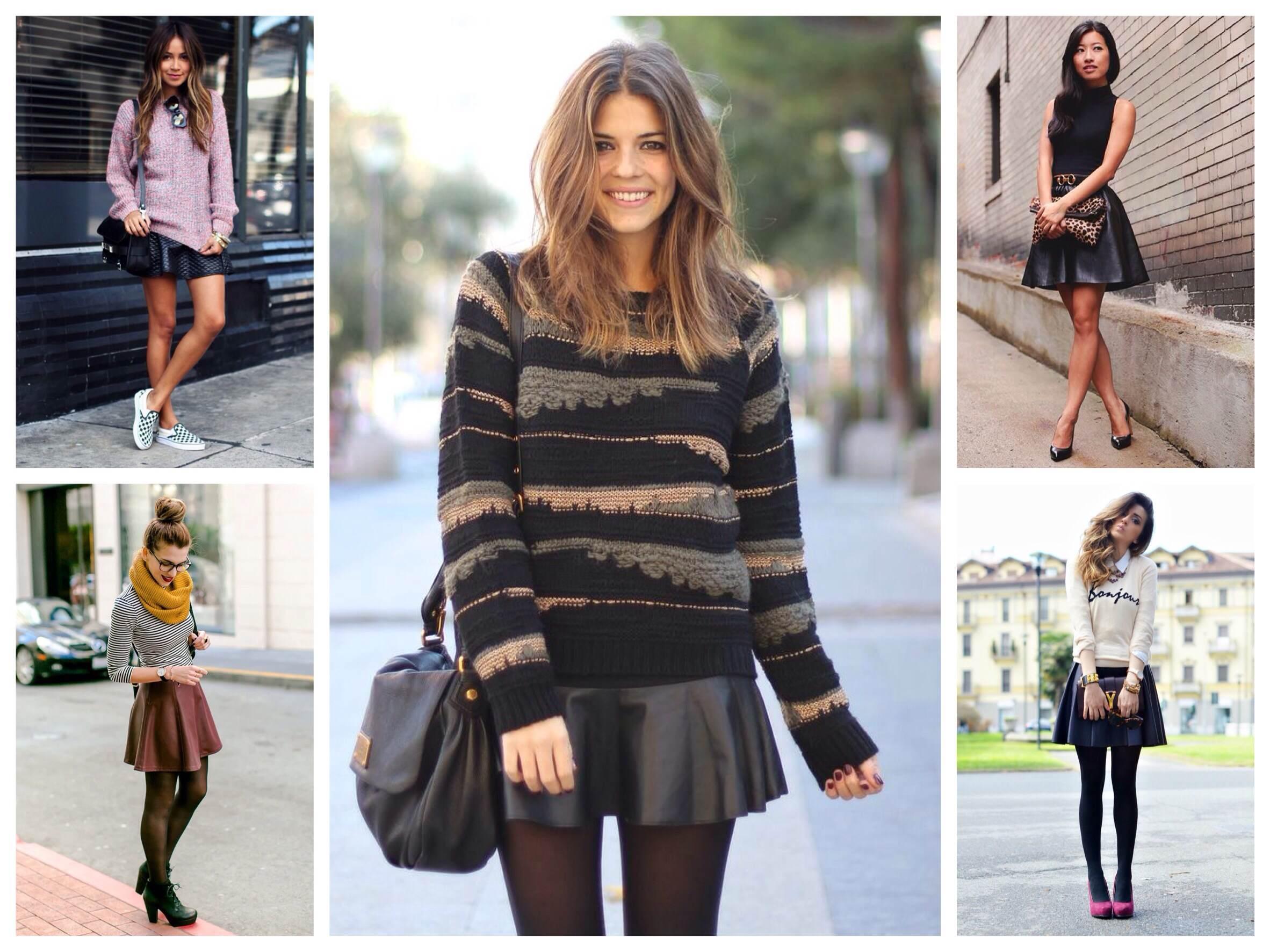 Кожаная юбка – секреты сочетания с одеждой
