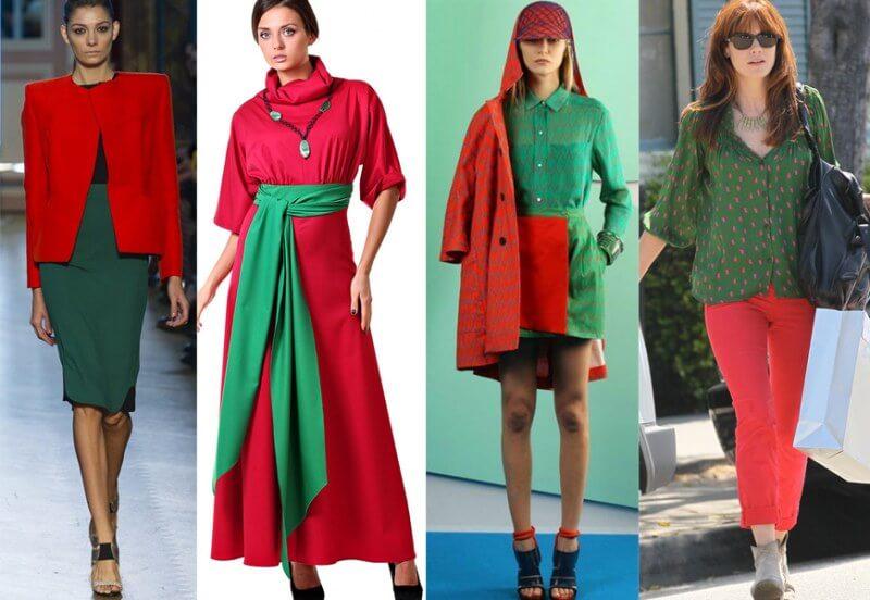 Красный цвет в одежде, сочетание с другими цветами