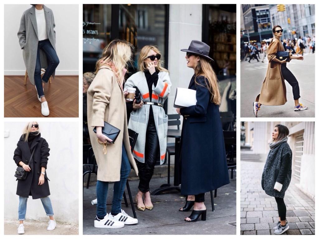 Пальто в стиле oversize можно надевать вместе с яркими кроссовками
