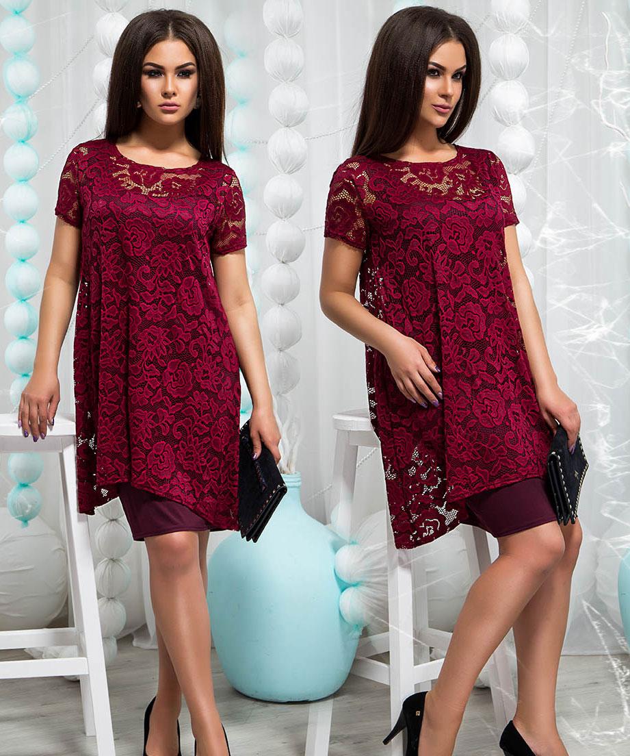 Платье миди бордовое с гипюровой накидкой