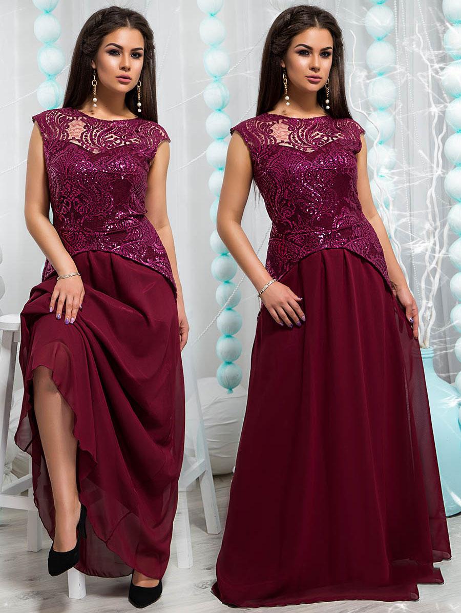 Платье вечернее бордового цвета