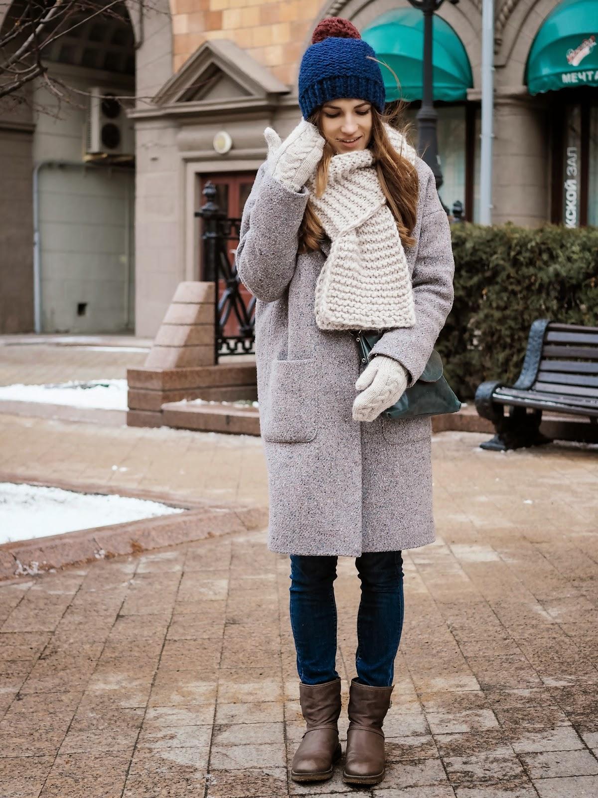 Серое зимнее oversize boyfriend пальто