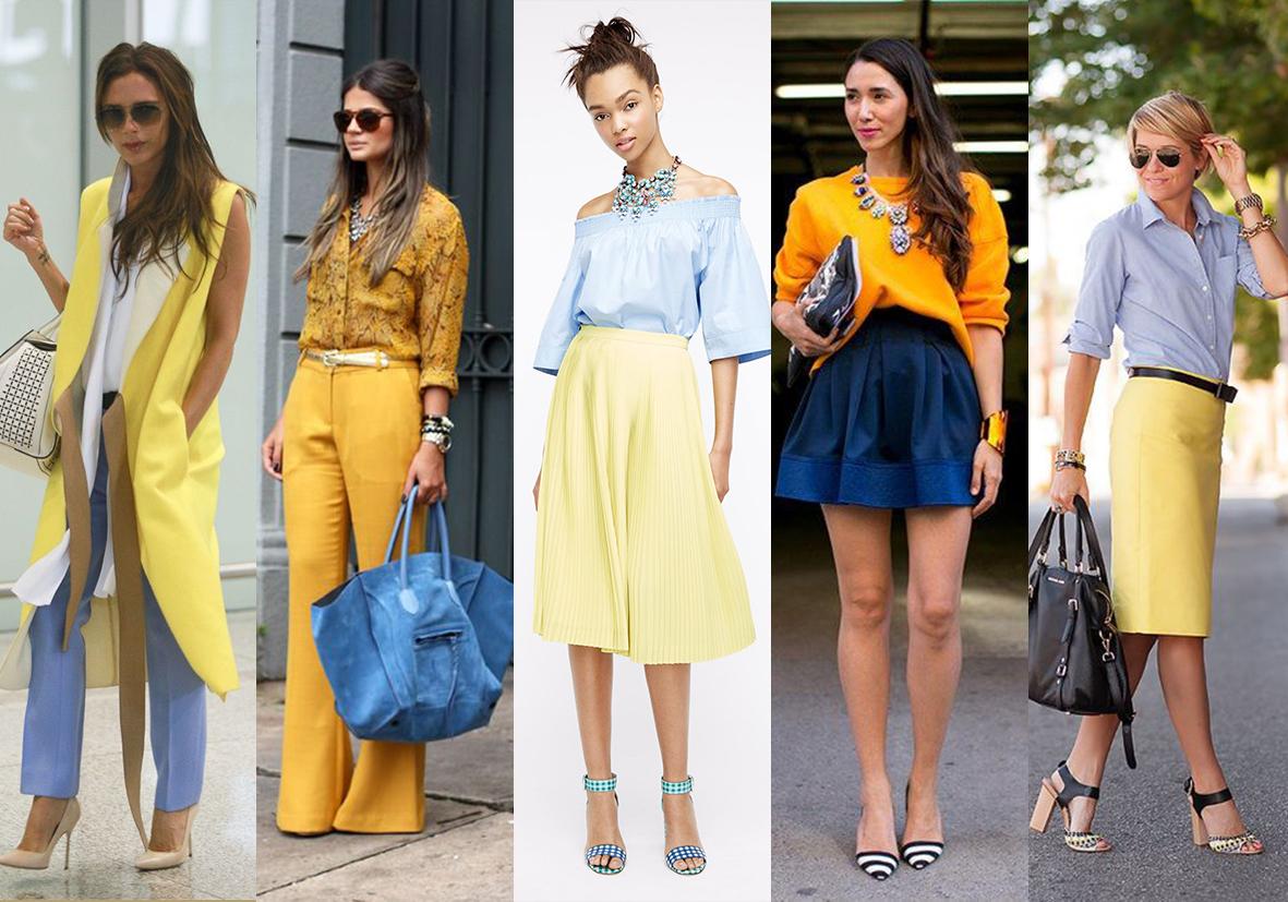 Сочетание синего цвета в одежде