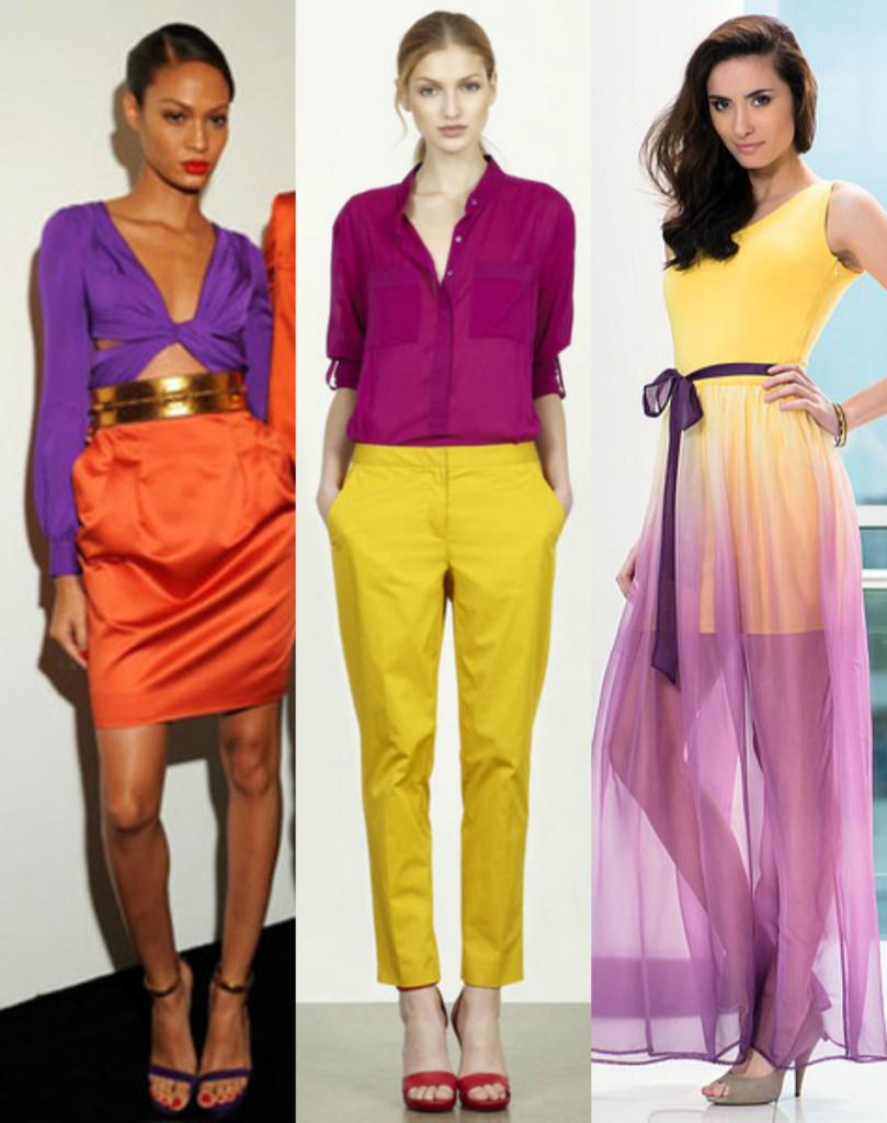 Сочетание в одежде сиреневого с желтым и оранжевым
