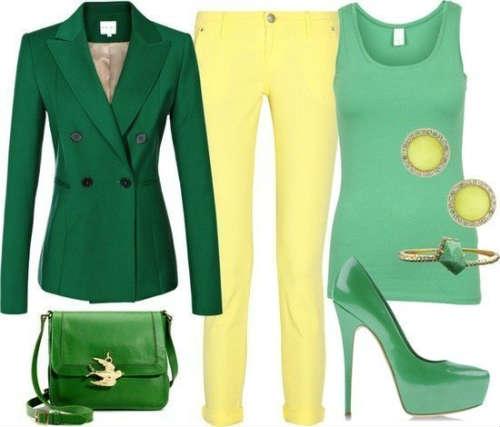 Сочетание зеленого с хроматическими
